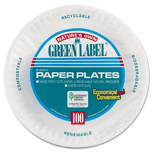 AJM PAPER PLATES GREEN LABEL 9