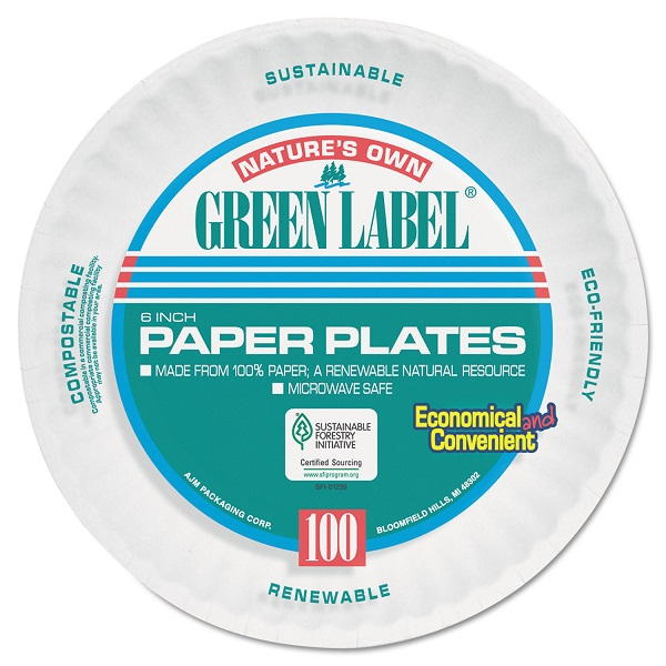 AJM PAPER PLATES GREEN LABEL 6