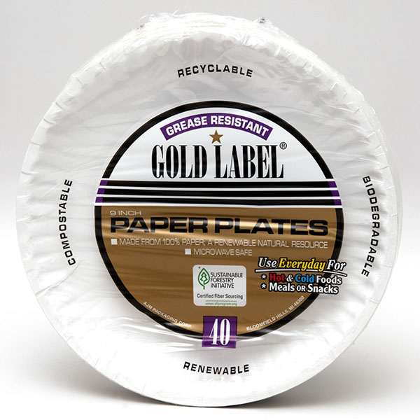 AJM PAPER PLATES GREASE RESISTANT GOLD LABEL 9