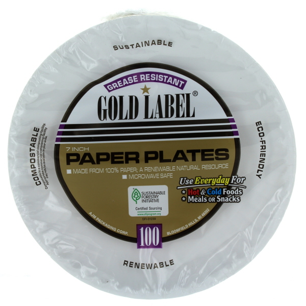 AJM PAPER PLATES GREASE RESISTANT GOLD LABEL 6