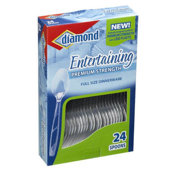 DIAMOND CLEAR PLASTIC CUTLERY 24'S *SPOONS*