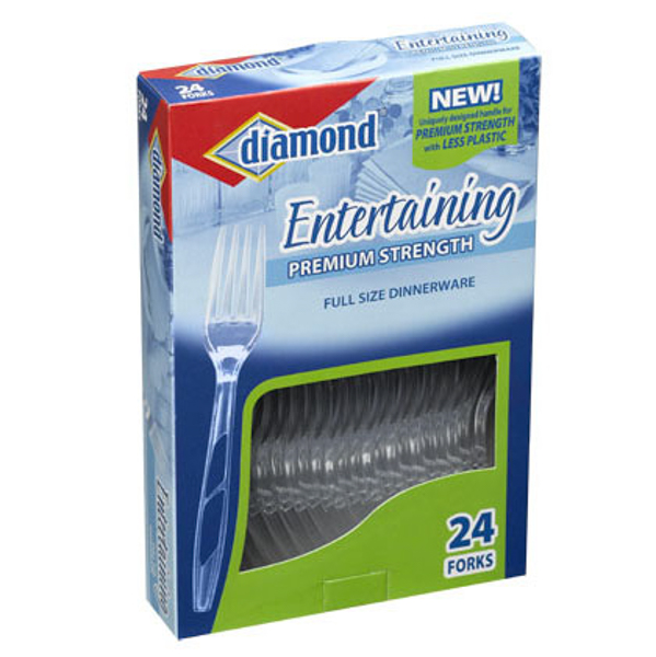 DIAMOND CLEAR PLASTIC CUTLERY 24'S *FORKS*
