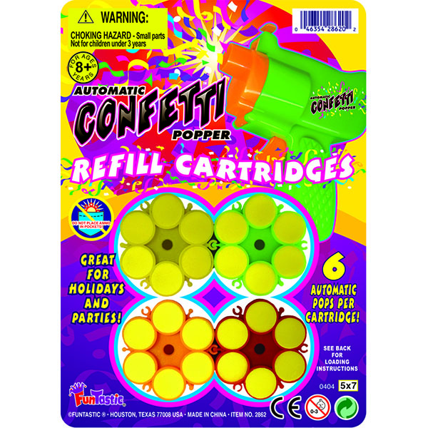 CONFETTI POPPER GUN REFILL CARTRIDGE 3'S