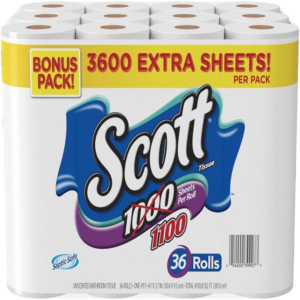 SCOTT TOILET TISSUES 1100 SHT. 36CT