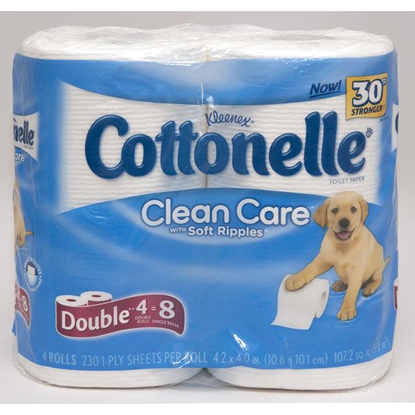 COTTONELLE TOILET TISSUES 208 SHT. 4'S DBL ROLLS *CLEAN CARE*