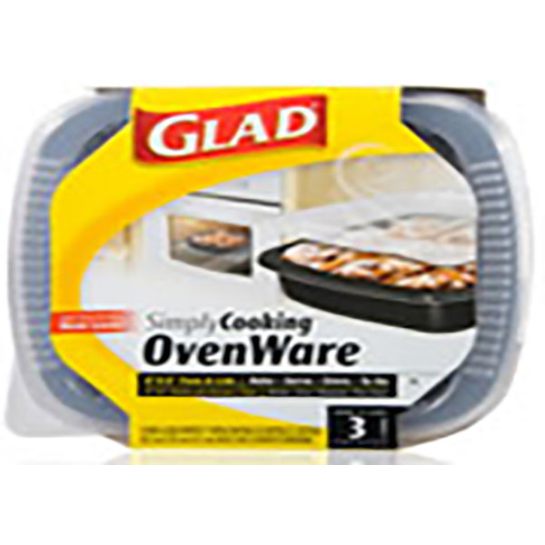 GLAD SIMPLY COOKING OVENWARE PANS W/LID 3'S *8
