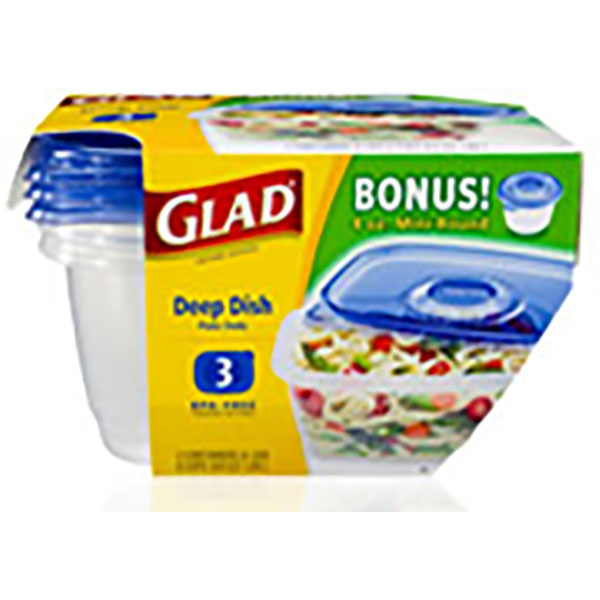 GLAD CONTAINERS W/LID 64OZ 3'S *DEEP DISH*