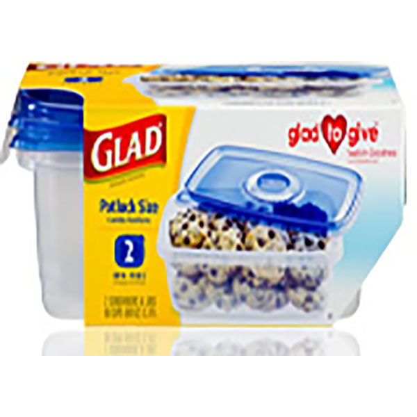GLAD CONTAINERS W/LID 80OZ 2'S *POTLUCK SIZE*