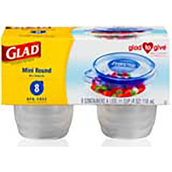 GLAD CONTAINERS W/LID 4OZ 8'S *MINI ROUND*