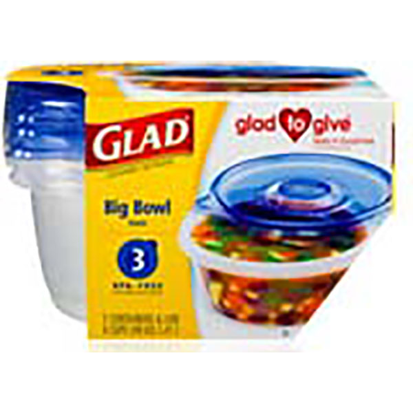 GLAD CONTAINERS W/LID 48OZ 3'S *BIG BOWL*