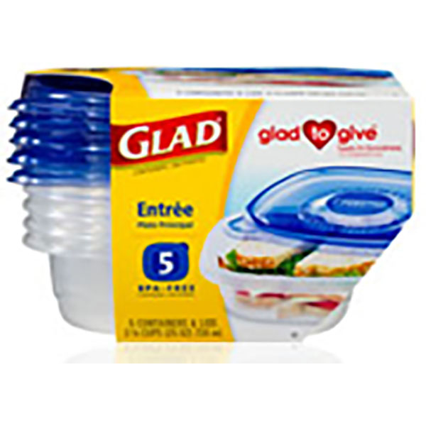 GLAD CONTAINERS W/LID 25OZ 5'S *ENTREE*