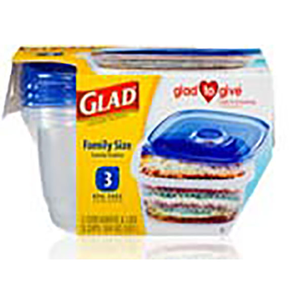 GLAD CONTAINERS W/LID 104OZ 3'S *FAMILY SIZE*