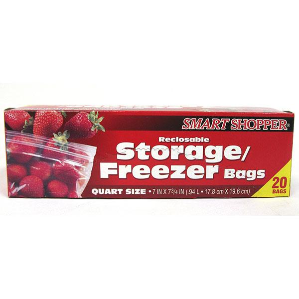 SMART SHOPPER RECLOSABLE FREEZER BAGS 20'S *QUART*