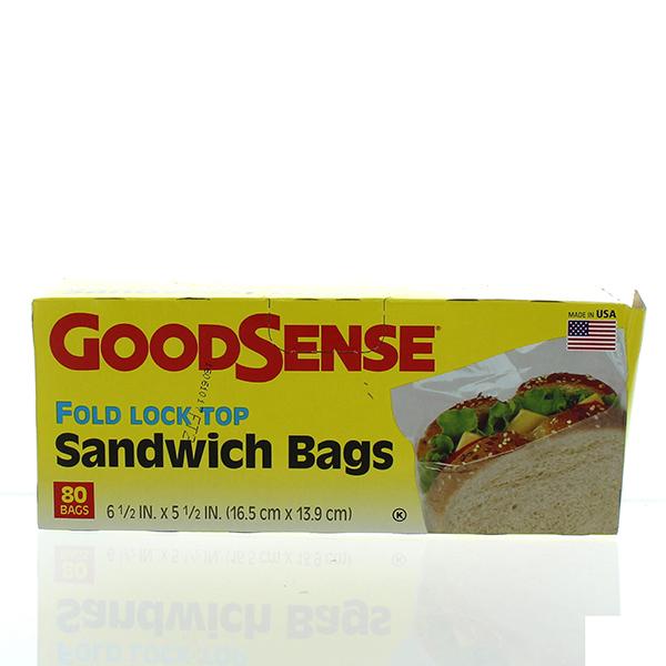 GOODSENSE SANDWICH BAGS FOLD LOCK TOP 80'S