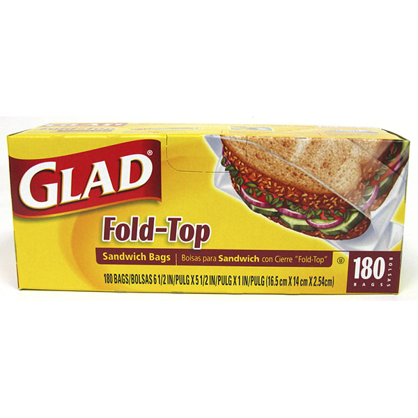 GLAD FOLD-TOP SANDWICH BAGS 180'S