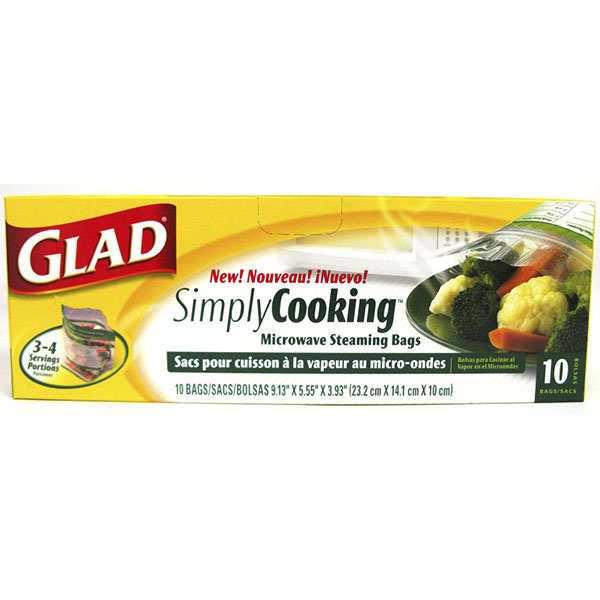 GLAD SIMPLY COOKING MICROWAVE STEAMING BAGS 10'S