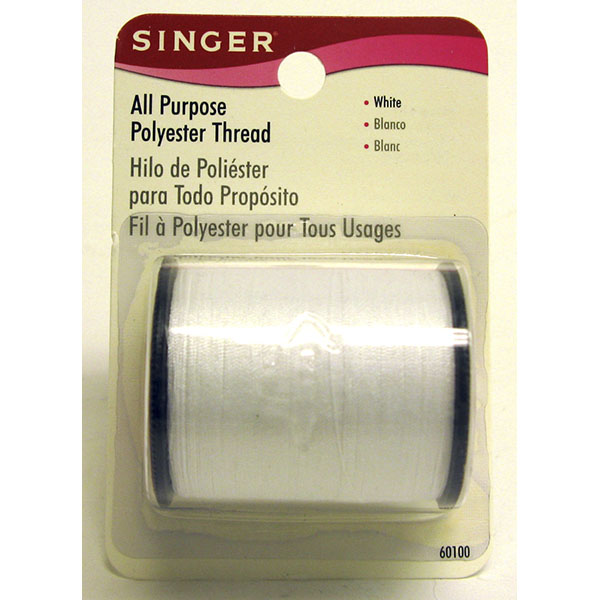 SINGER THREAD POLYESTER ALL PURPOSE *WHITE* #60100