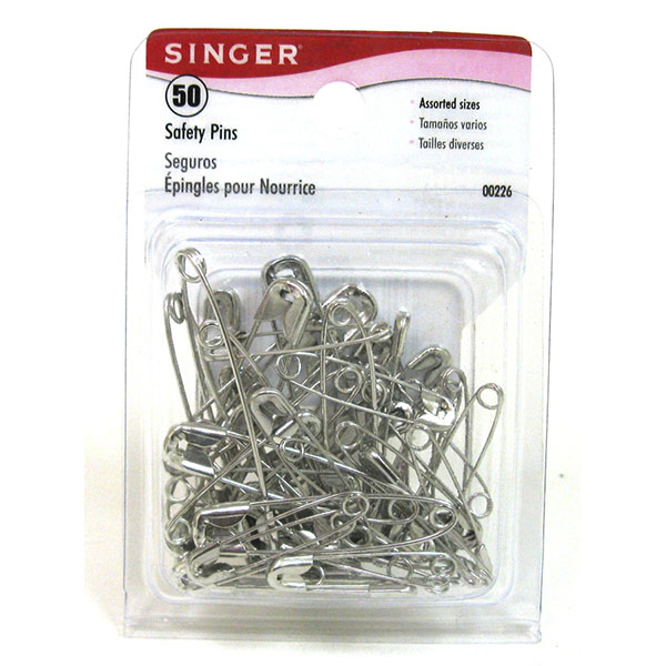 SINGER SAFETY PINS ASST. SIZES 50'S #00226