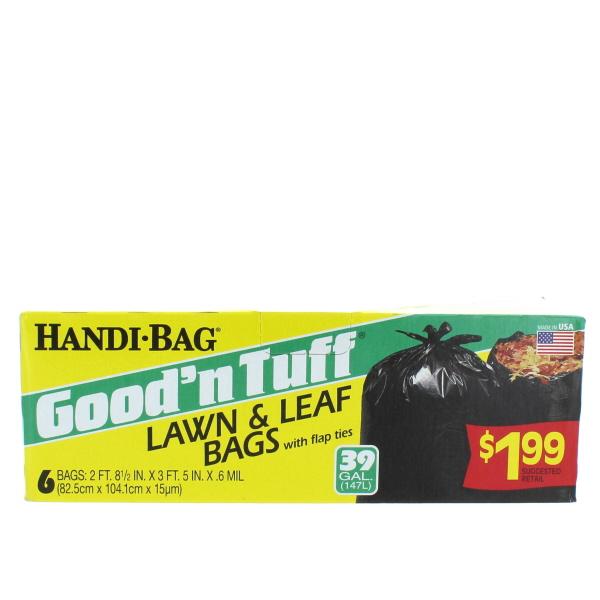 GOOD'N TUFF TRASH BAGS 39 GAL 6'S LAWN & LEAF PP$1.99