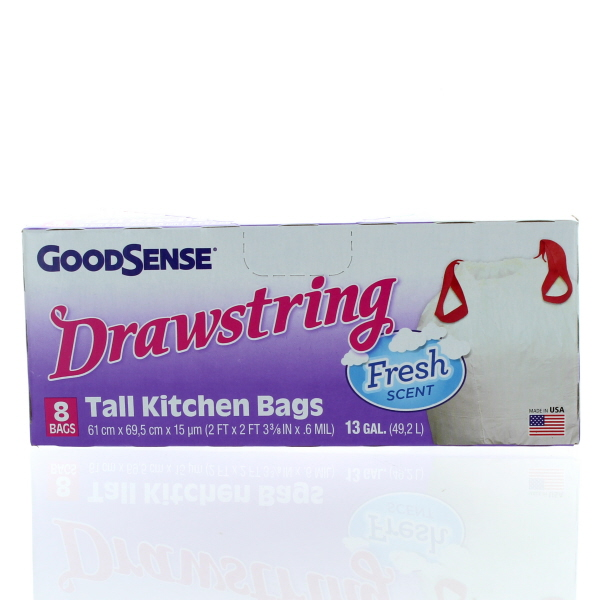 GOODSENSE TALL KITCHEN BAGS 13 GAL 8'S *DRAWSTRING*