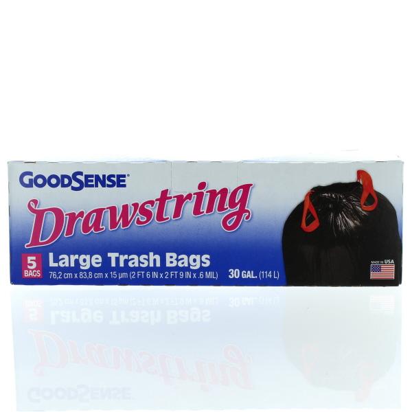 GOODSENSE TRASH BAGS 30 GAL 5'S *DRAWSTRING*