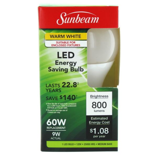 SUNBEAM LED LIGHT BULB 60/9W