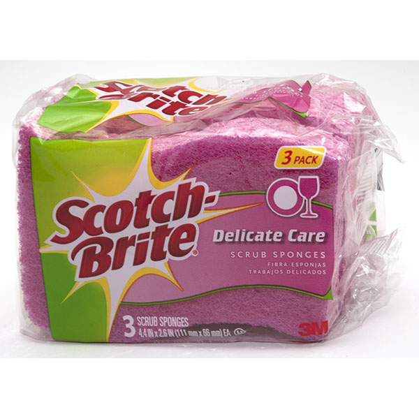 SCOTCH-BRITE SCRUB SPONGE 3'S *DELICATE CARE*
