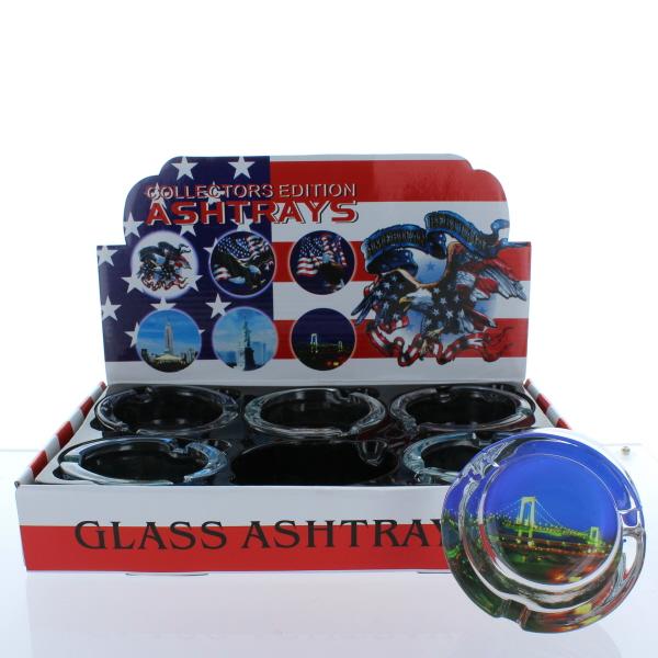 GLASS ASHTRAY ROUND 6CT *AMERICANA*