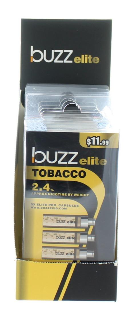 BUZZ ELITE E-CIG. CAPS. 2.4% 5'S 36ML/BX *TOBACCO*