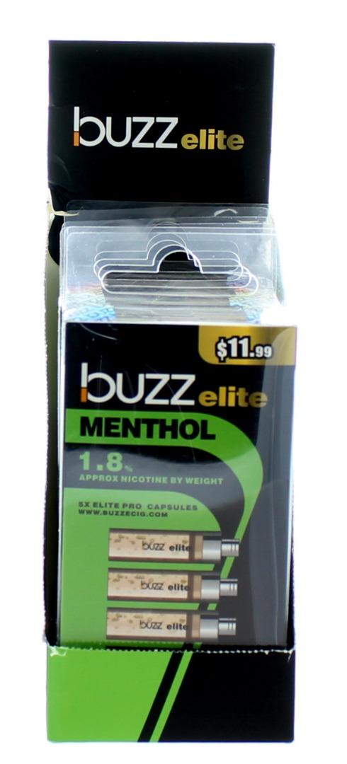 BUZZ ELITE E-CIG. CAPS. 1.8% 5'S 36ML/BX *MENTHOL*