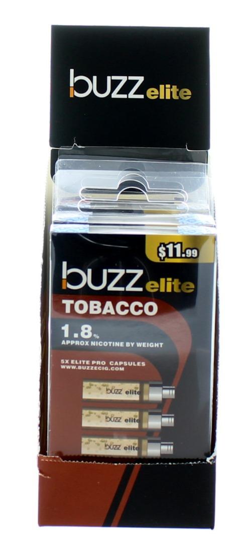 BUZZ ELITE E-CIG. CAPS. 1.8% 5'S 36ML/BX *TOBACCO*