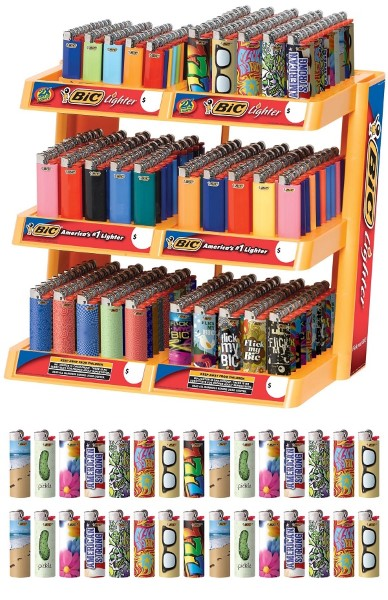 BIC LIGHTER MIXED 6 TIER DS. 300CT+30FREE