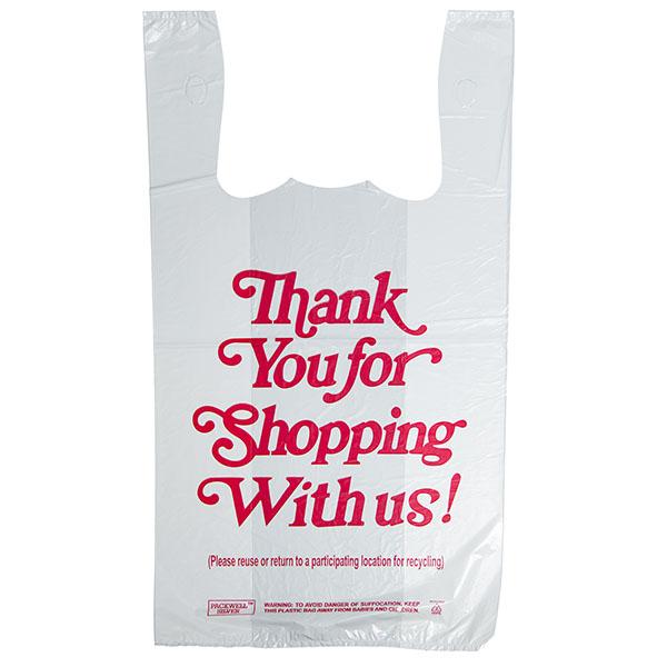 CARRY BAG-SILVER 1/6 11.5X6.5X21.5 17MIC THANK YOU *WHITE* 5
