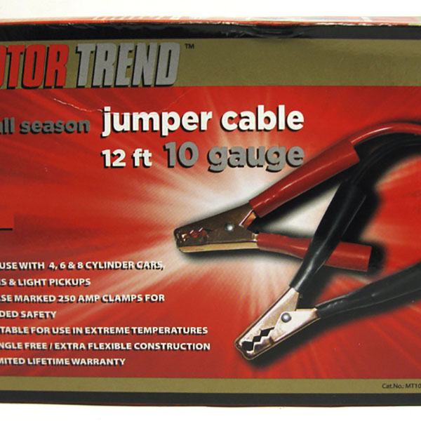BOOSTER CABLE W/CASE 8 GAUGE 12FT 300 AMP MED. DUTY