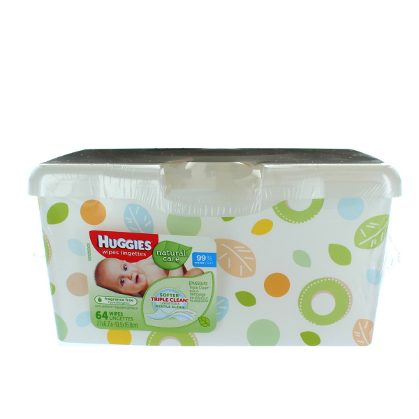 HUGGIES BABY WIPES TUB 64'S *NATURAL CARE*