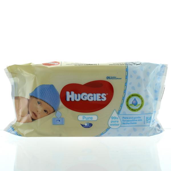 HUGGIES BABY WIPES SOFT PK. 56'S IMP. *PURE*