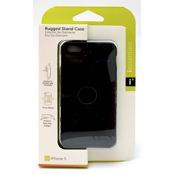 PHONE CASE I-PHONE 5 RUGGED STAND *BLACK* #IPH5-RGS-BK