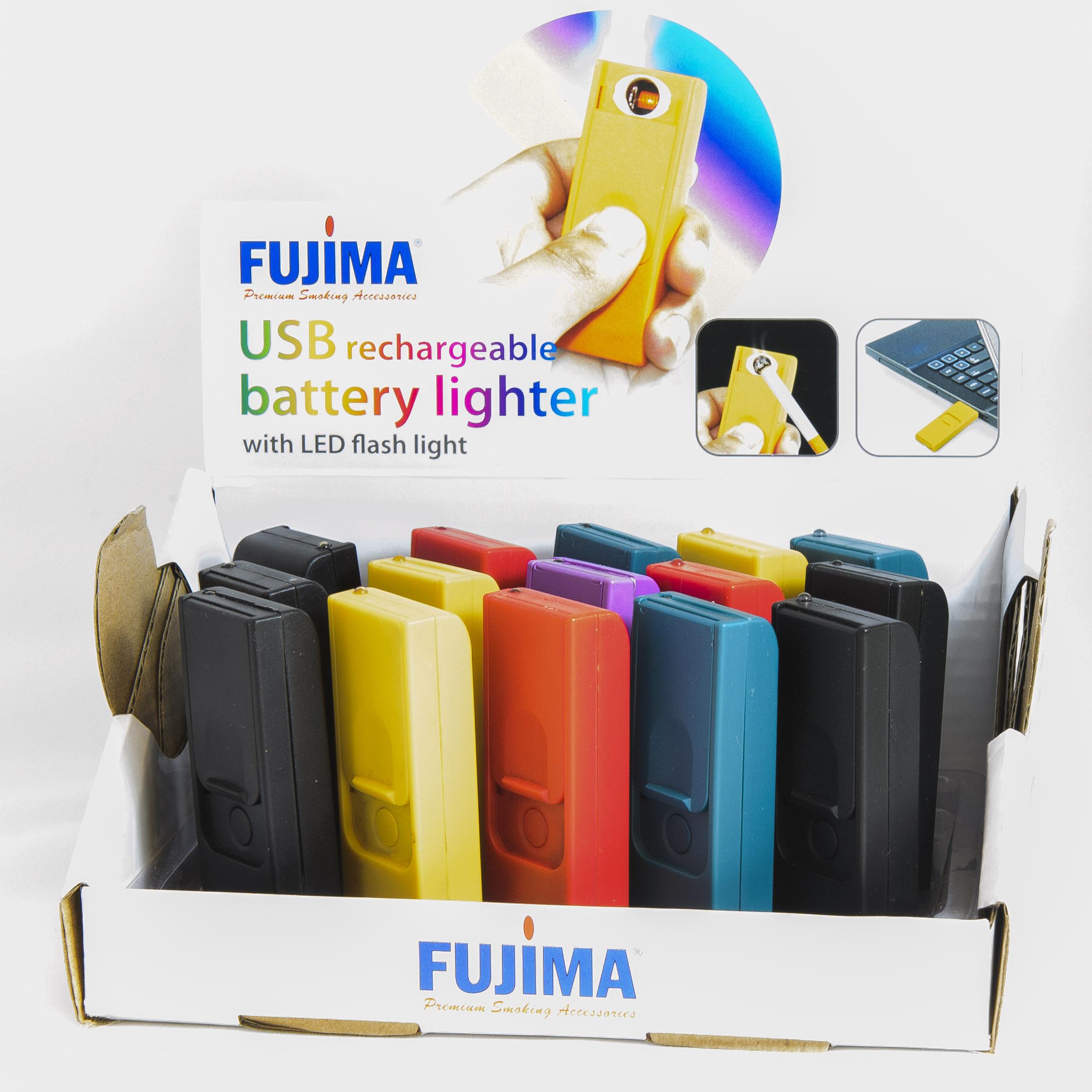 FUJIMA USB RECHRGE. BATTERY LIGHTER W/LED FLASHLIGHT