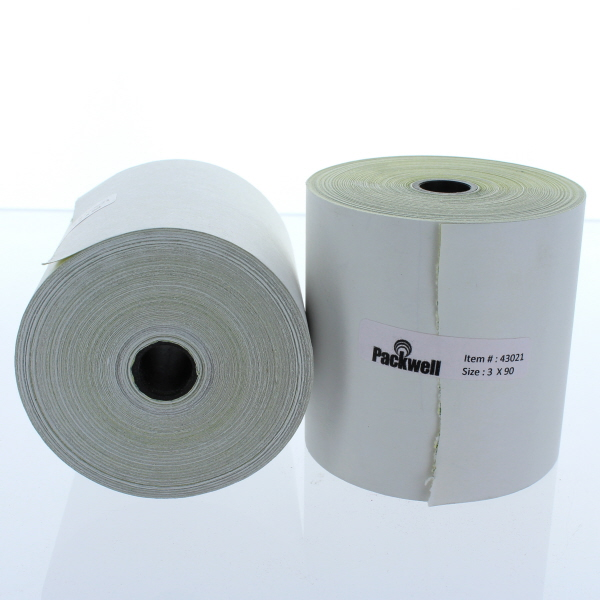 PAPER ROLL CARBONLESS 2-PLY WHITE/CANARY 3