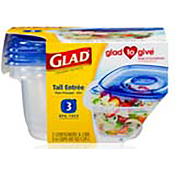 GLAD CONTAINERS W/LID 42OZ 3'S *TALL ENTREE*