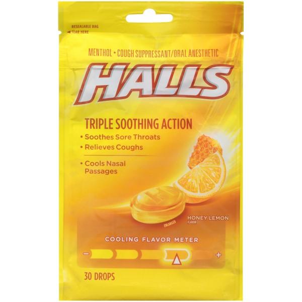 HALLS BAGS 30'S 12CT *HONEY-LEMON*