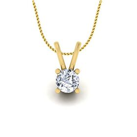 Velvetcase Yellow Gold and Cubic Zirconia Pendant for Women