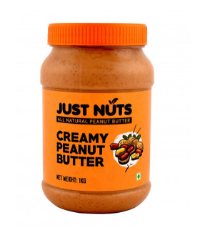 Just Nuts All Natural Creamy 100% Roasted Sugar Free Peanut Butter / Makkhan Jar (1kg.)