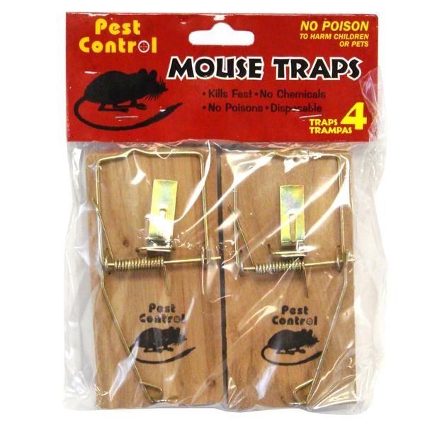 Pest Control Wooden Mouse Trap 4PK