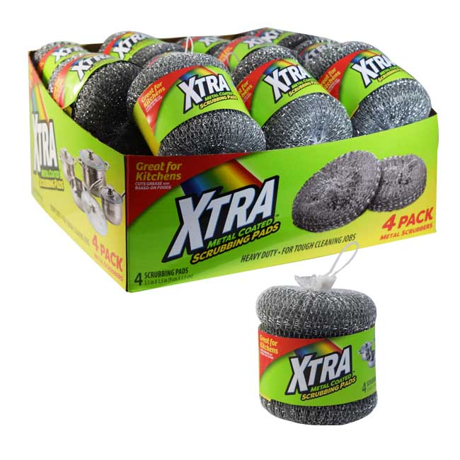 XTRA Metal Scrubbing Pads 4PK w/ PDQ