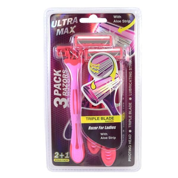 Ultra Max Razor Triple Blade 3PK Pink