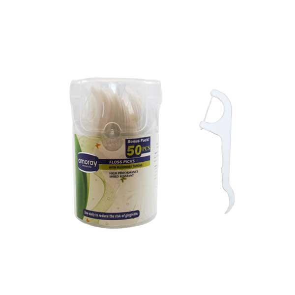 Amoray Floss Picks Jar 50ct w/ PDQ